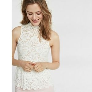 Express Small Blouse Ivory Lace High Neck Y34